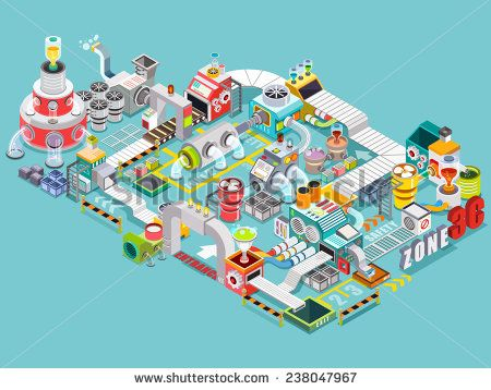 Flat 3d isometric engineering factory concept vector, Industrial factory buildings, Infographic elements collection, illustrator Vector