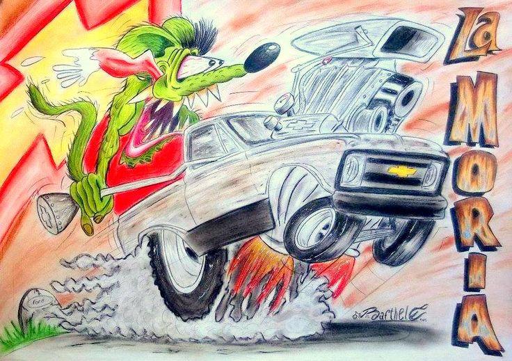 """La Moría"" Lamina de 50cm x 70cm. Camioneta chevrolet rat con Rat Fink de chofer, encargara por Mateo Vitcovich en chubut, argentina. Tecnica utilizada, Pasteles. #chevrolet #rat #rat fink #caricatura #Dibujo #Camioneta #coche #Motor #Arte #Kustom"