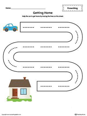**FREE** Street Line Tracing Prewriting Worksheet in Color Worksheet.Help the…