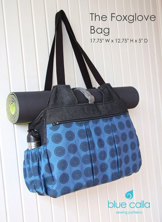 PLEASE READ ENTIRE DESCRIPTION. This bag IS a longer project. Please do not purchase if you are looking for a quick sewing project!!! The Foxglove is a HUGE bag with many pockets making it the perfect workout bag OR diaper bag. It has a very large zippered pocket on the front with pleats that expands to accommodate athletic shoes. The reverse side is also pleated but without the zippered pocket. There are 2 exterior side pockets perfect for water bottles or baby bottles.  The bag has a…