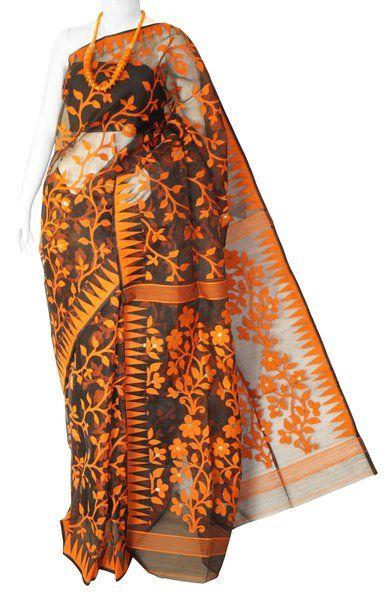 Black & Orange Full Body Jamdani Silk Saree