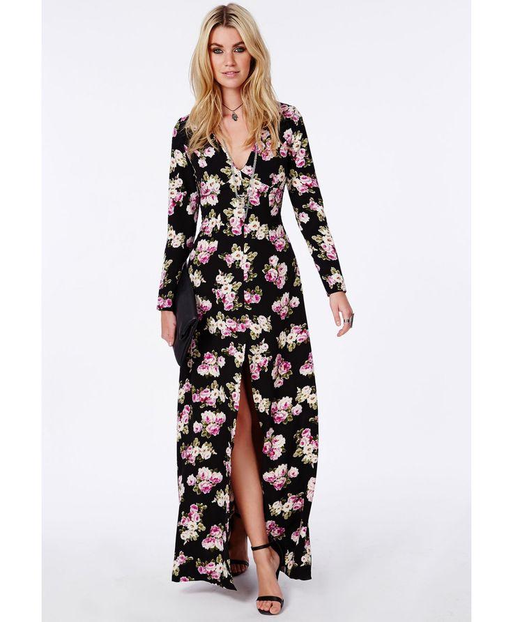 Robe longue fendue décolleté en V noire fleurie - Robes - Robes longues - Missguided