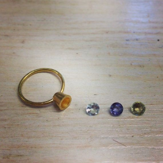 Gold Engagement Ring Diamond Aquamarine by MichelleOhJewellery, £550.00