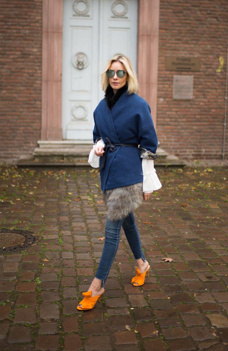 kimono jacket – GUESS fur vest – vintage shirt – Storets jeans – JBrand high heels – Charlotte Olympia sun glasses – Dior