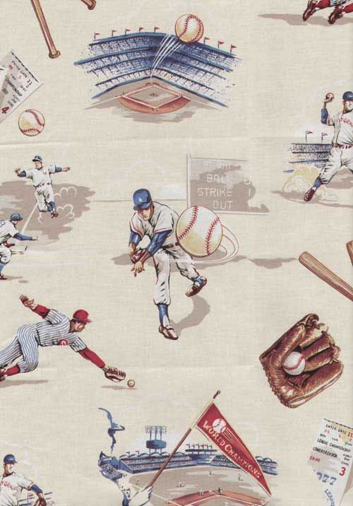 Vintage Creme Baseball Fabric by the Yard