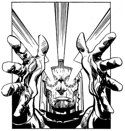 Darkseid emits his deadly Omega beams in Walter's art for an Overpowers trading card game set. Courtesy of the artist. ©2000 DC Comics.