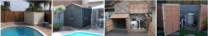 ideas for enclosing your pool equipment, pump and filter enclosures