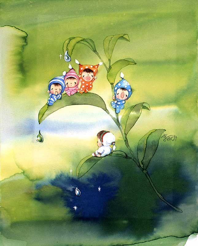 メルヘンイラスト 朝露と妖精たち