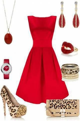 Red dress - just add accessories - great evening look!