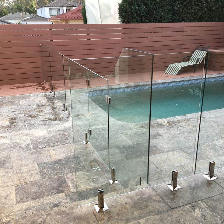 Glass fence, stairs, uneven, custom, no problem..... #glassfence #customglass #glasspanels #poolfence #framelessglassfence