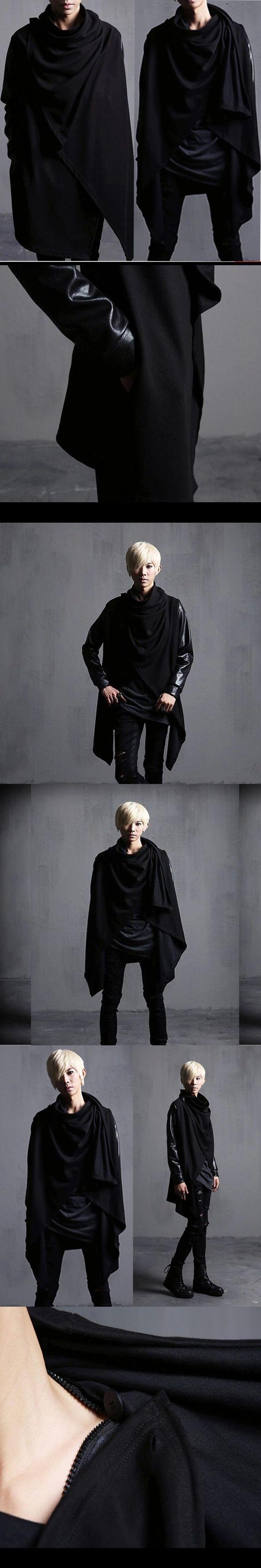 Avant-garde  Edgy Unbalance Mens Fashion Draping Shawl Faux Leather Cardigan Cloak Outwear Coat Mens Stylist Club Dance Tops