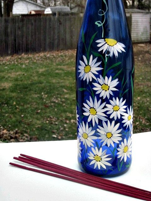Incense Burner Smoking Bottle Recycled Blue Wine by GlassGaloreGal, $17.00. DIY- can also drill holes in bottle so smoke escapes.