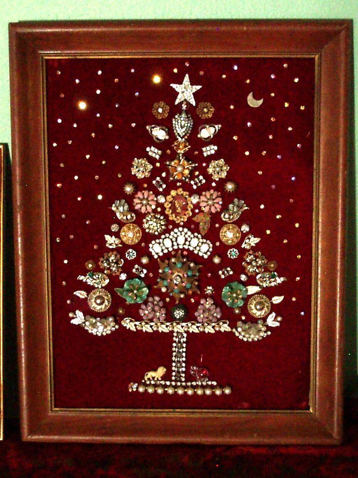 Large Vintage Framed Rhinestone Jewelry Christmas Tree Art Red Velvet | eBay