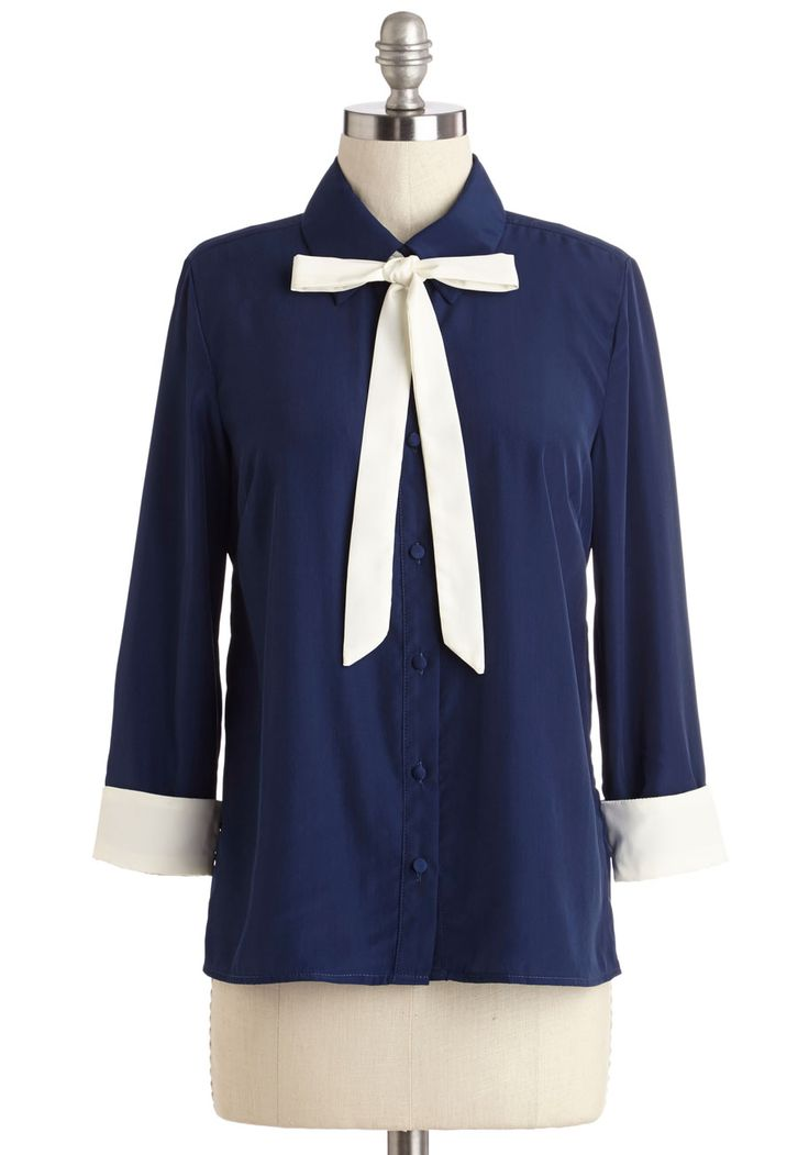 Bring It to the Boardroom Top. Your confidence today is unmatched - you have no doubt youre going to ace your presentation in this navy-blue blouse by Myrtlewood! #blue #modcloth