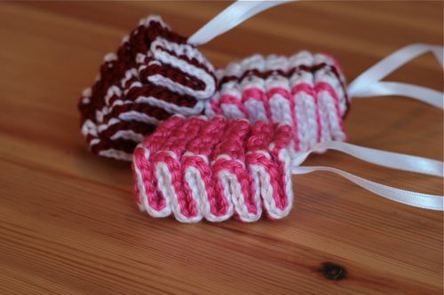 Crochet Ribbon Candy (This is so going on our tree next year!)  http://www.aliciakachmar.com/blog/craft/crochet-ribbon-candy-how-to/#