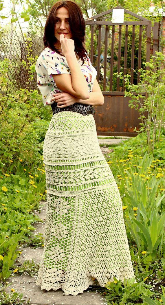 Beige maxi skirt, long skirt for summer, crochet knitted from 100% cotton natural, crochet skirt maxi