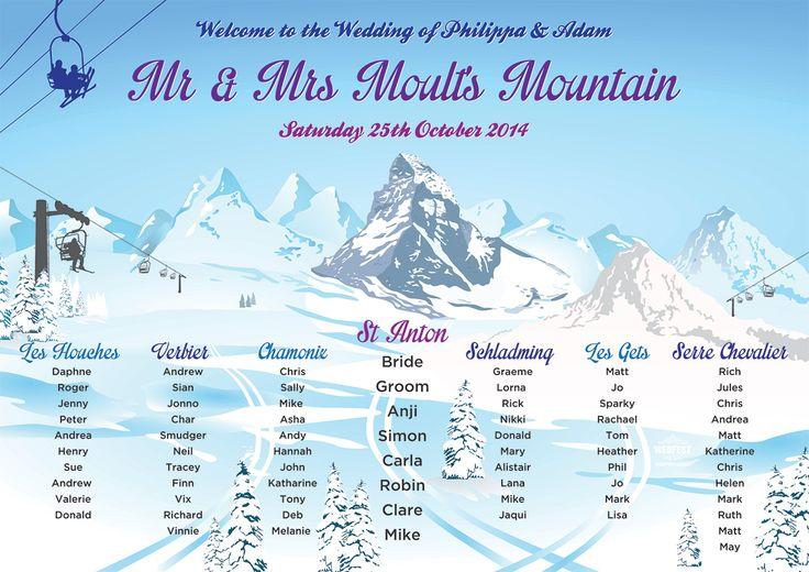 ski themed wedding table plans - http://www.wedfest.co/ski-themed-wedding-stationery/