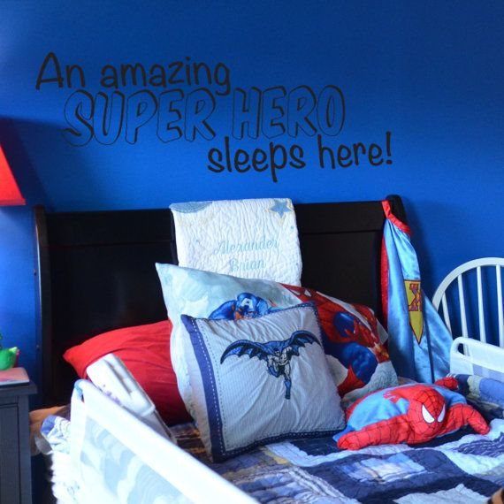 A Super Hero Sleeps Here Vinyl Wall Decal for Batman, Spiderman, Superman, Room on Etsy, $25.00