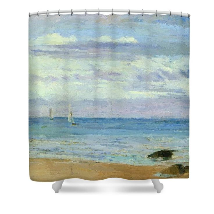 Blue Shower Curtain featuring the painting Blue And Silver Trouville by Whistler James McNeill