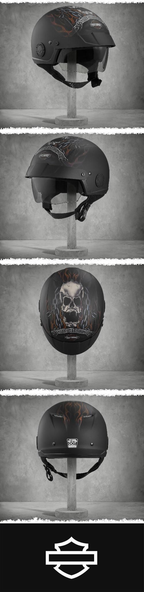 This matte black motorcycle half helmet has more going for it than an awesome, drooling skull. | Harley-Davidson Shields Avenue Sun Shied H02 Half Helmet