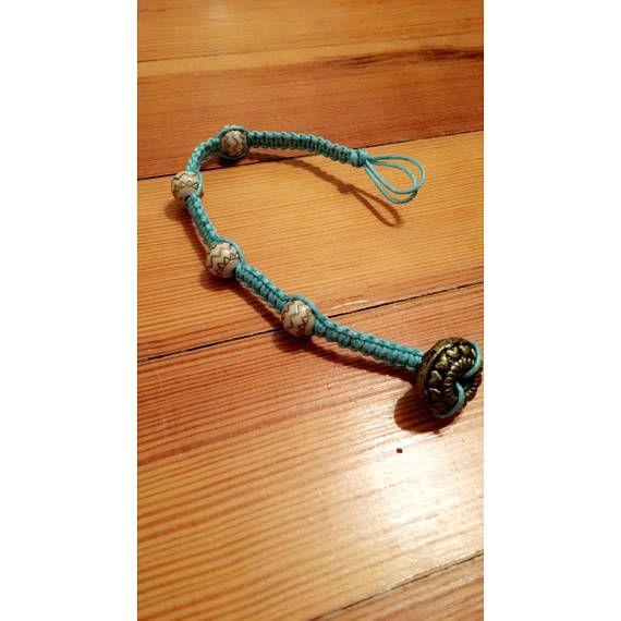 Blue help cord Beads Bead closure Handmade