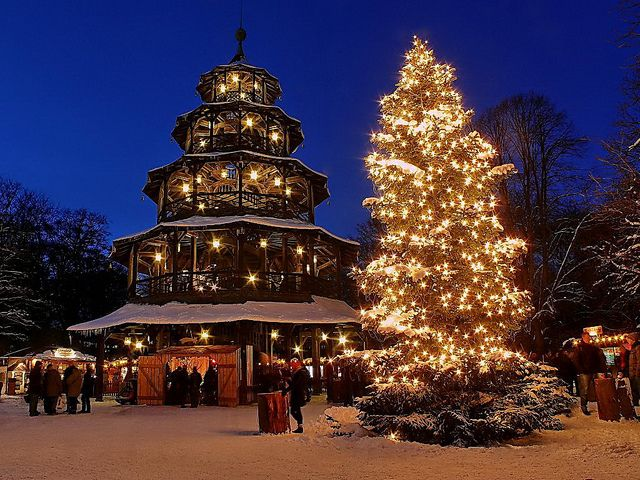 Unique The Christmas Market around the Chinese Tower in the English Garden in Munich Germany