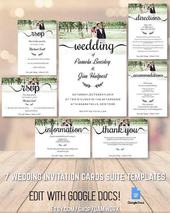 Wedding Invitation Cards Template Set Suite Package 5x7 3 5x5 Etsy Wedding Invitation Card Template Wedding Invitation Cards Invitation Cards