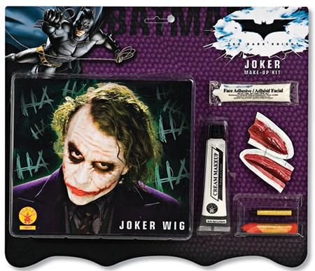 Give your Joker Halloween Costume a unique look with our Joker Wig and Makeup Kit. Our Joker Wig and Makeup Kit instantly transforms you into Batman's worst enemy, The Joker and is easy to apply and remove with soap and water. Each Joker Wig and Makeup kit is individually sold and packaged and contains wig, one tube water-washable white cream makeup, one small black makeup stick, one large red makeup stick, mouth scars and face adhesive.