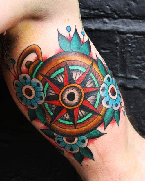 Colorful Design Compass Rose Tattoo Cute And Colorful