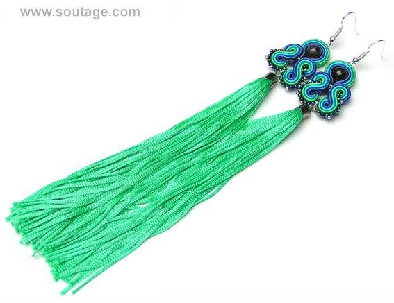 Emerald Dragon - very long, light, thin soutache earrings with blue sand stones. Earrings with their silky tassel can be wear for all occasions: wedding, evening party, date, everyday(workday) Using materials: glass beads, soutache, viscose, coral stones. Length of earring: 18 cm. Width