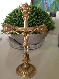 Brass Jesus on Cross , Gold Color, 10 inches