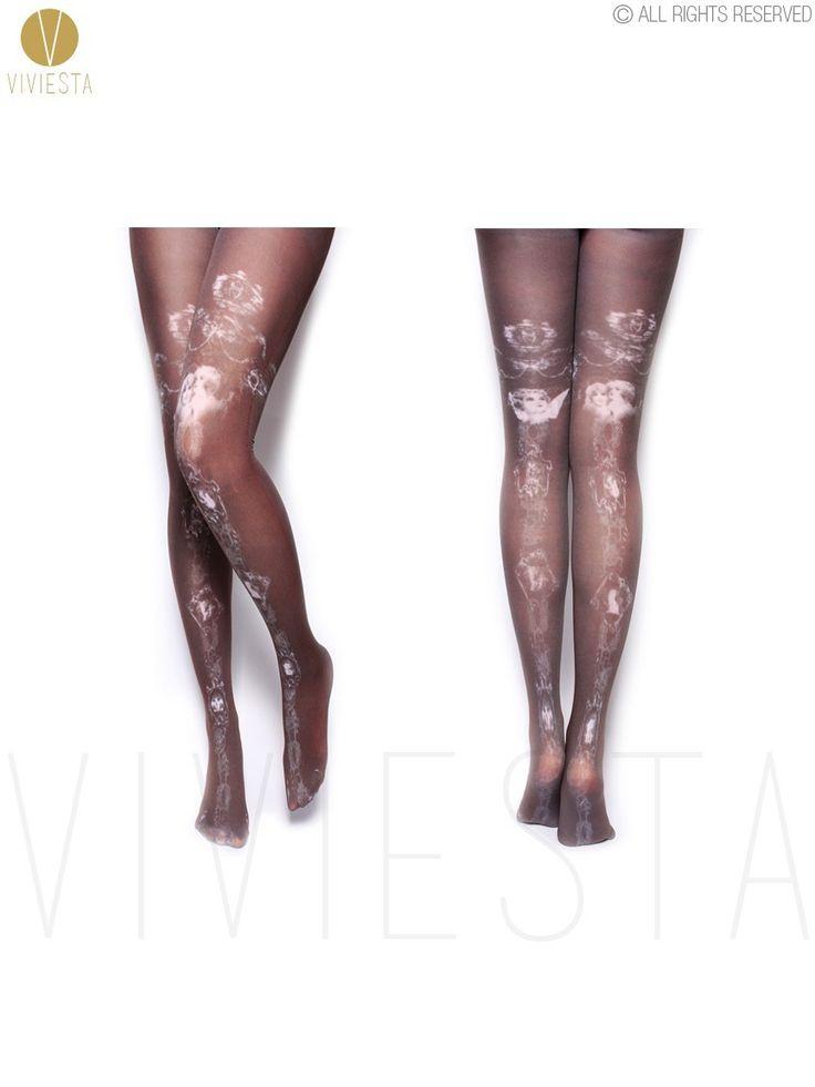 Черные ангелы картины маслом , напечатанные колготки - 80D женские женщин-девочек милый Harajuku стиль гримуар искусства черный чулки колготки