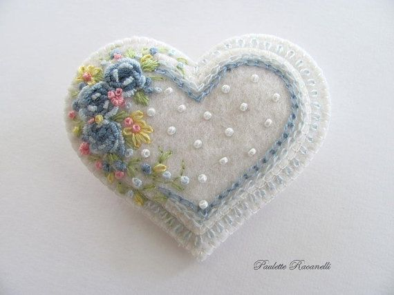 Embroidered Heart Pin by Beedeebabee