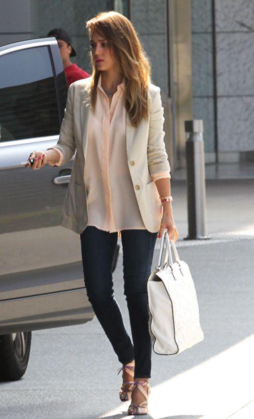 Jessica Alba | nude blazer + pink blouse + black skinny pants + heels + hair: down & straight