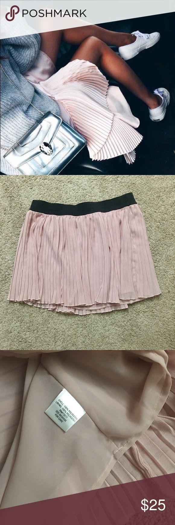 Blush pink pleated chiffon skirt Gorgeous blush pink pleated skirt! Perfect for the spring and summer. Beautiful staple piece for any closet. Chiffon, double layered, not sheer at all. Elastic waist band. Purchase on posh, but unfortunately it was too big for me  Candie's Skirts Mini