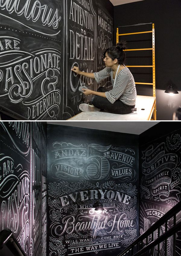 Chalk artist at work. Tanamachi ANDAZ via the red thread