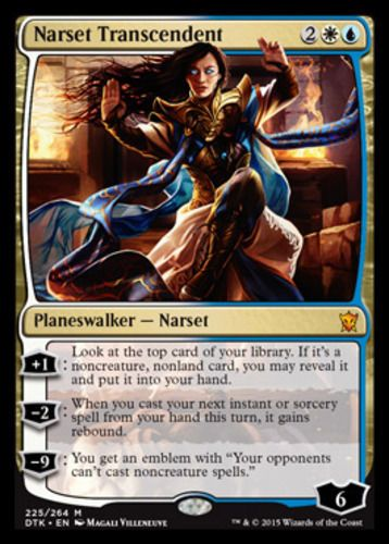 Narset Transcendent mtg Magic the Gathering blue white Dragons of Tarkir mythic rare planeswalker card