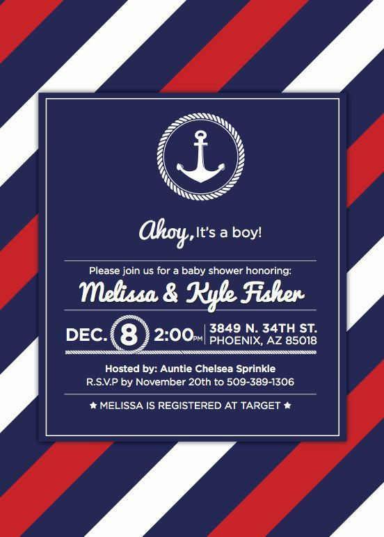 this classic nautical invitation is perfect for your little sailor itu0027s bright colors and nautical shower