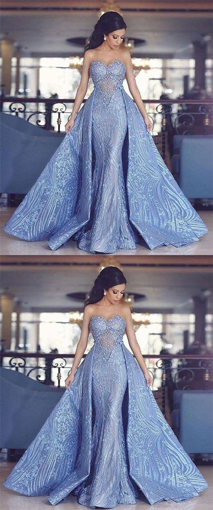 86fbae6906b Elegant Sweetheart Mermaid Prom Dress With Detachable Train
