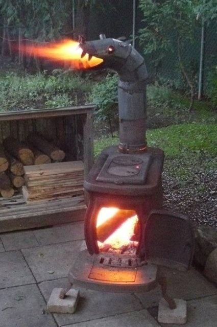 Everyone likes a fire breathing chimenea/stove