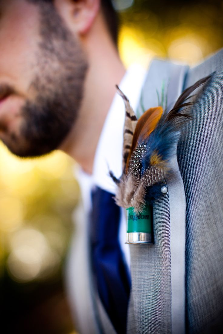 Boutonniere's that the guys will wear in the wedding (with flowers instead of feathers)