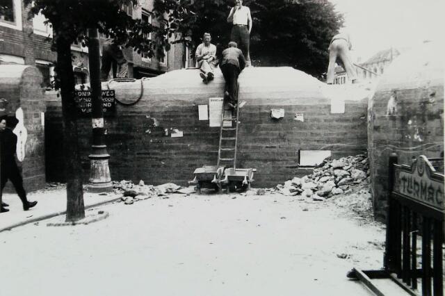 Tankmuur Vlissingen. Na afloop van de oorlog afgebroken.