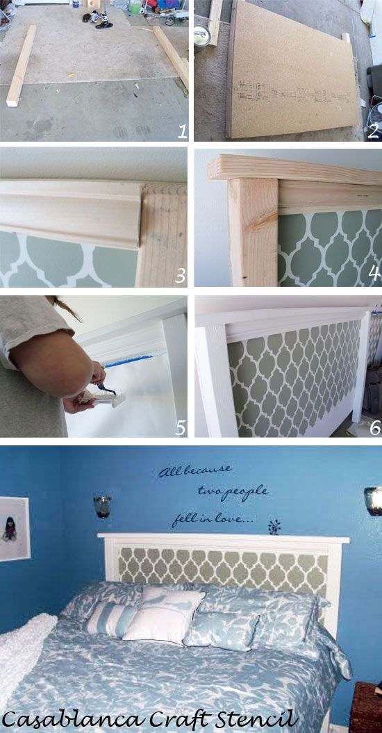 How to create DIY framework for Moroccan headboard. http://www.cuttingedgestencils.com/craft-furniture-stencil.html  #craft #stencils #moroccan #casablanca