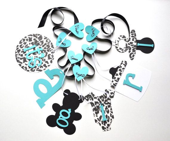 Cheetah baby shower decorations leopard black and turquoise it's a girl banner by ParkersPrints on Etsy