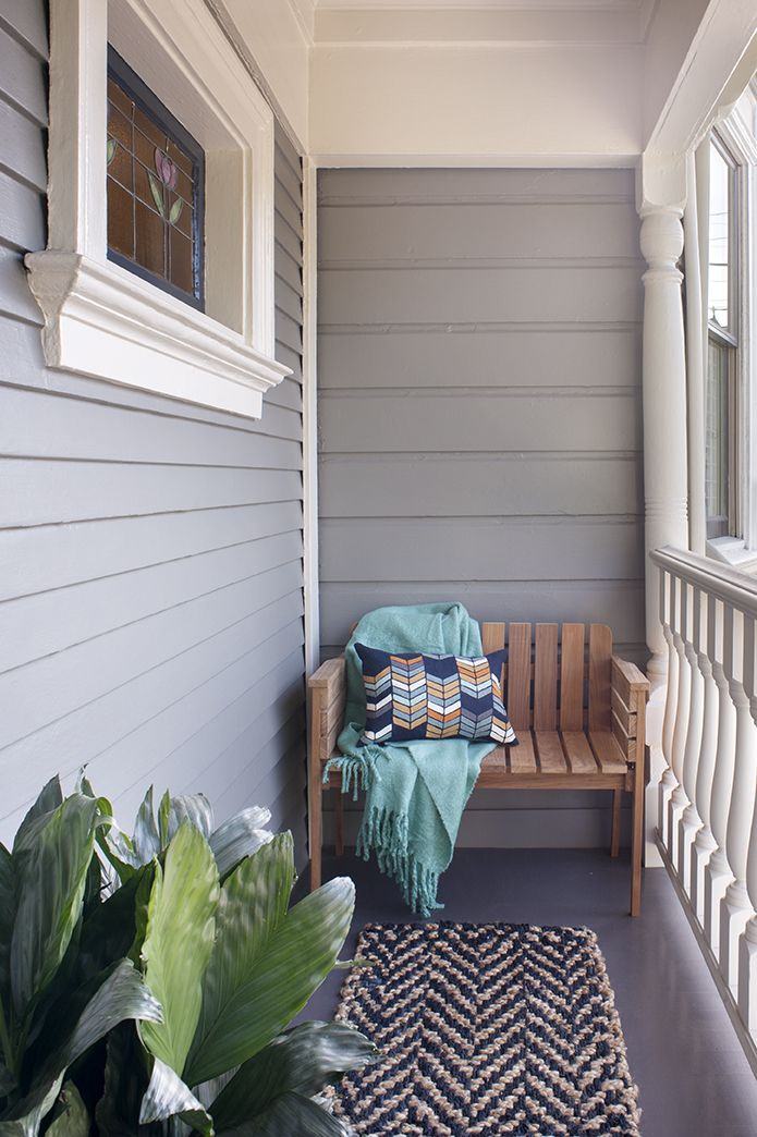 San Francisco Interior Design company Regan Baker Design -  Dolores Heights Traditional Modern Porch, Midcentury Modern, Front Porch Bench Styling, Outdoor Rug