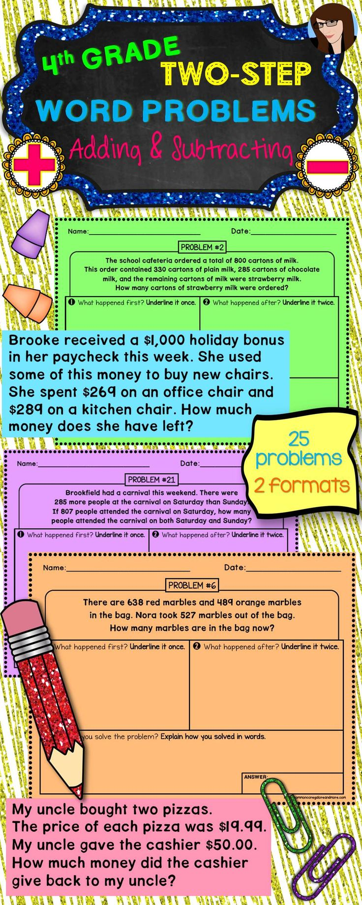 Two Step Word Problems 4th Grade 3rd 4th 5th Grade