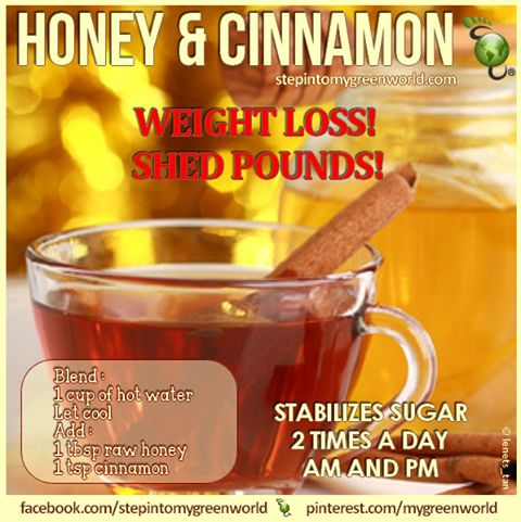 Honey helps speed up metabolism so you burn fat faster. Cinnamon controls our bloodsugar, which also helps you lose weight.