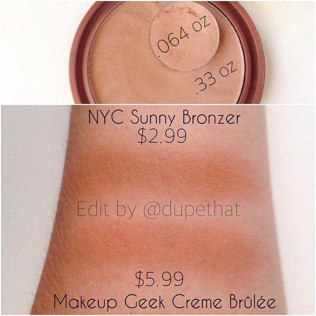 #dupes NYC Sunny bronzer makeup geek creme brûlée eyeshadow dupe
