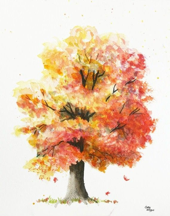 autumn tree watercolor painting print cathy hillegas 8x10