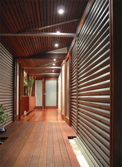 combine wood and corrugated iron